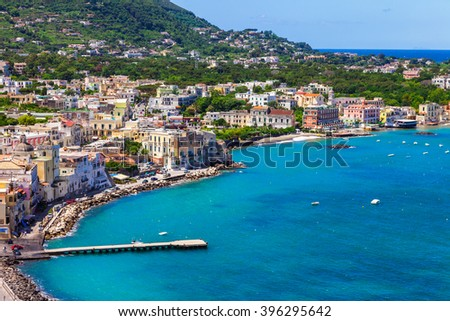 Ischia island - view from castle Aragonese, Italian holidays - stock photo