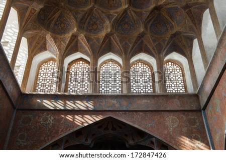 ISFAHAN, IRAN - JAN 7, 2014: Music room on the 7th floor of the Ali Qapu palace in Iran, Jan 7, 2014. The building is forty-eight meters high and there are seven floors