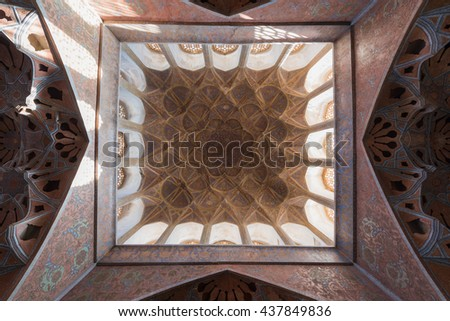ISFAHAN, IRAN - 13 OCTOBER 2015: A view of the ceiling of the Ali Qapu Palace in the Naqsh e Jahan square in the persian city of Esfahan.