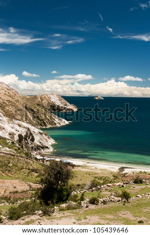 Isla del sol on the lake titicaca in Bolivia - stock photo