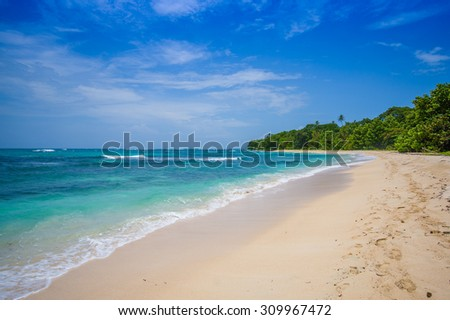 Isla Zapatilla  pristine beach at Bocas del Toro Province in Panama - stock photo