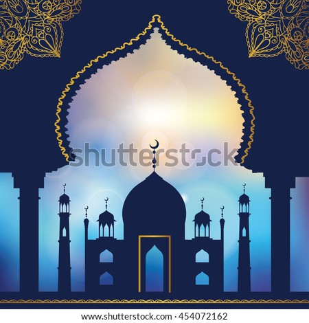Islam,arabic,muslim background.Mosque ,minaret .Blue blurred backdrop.Vintage Celebration card for Ramadan Kareem, holiday template. Illustration.Mosque black silhouette.Day