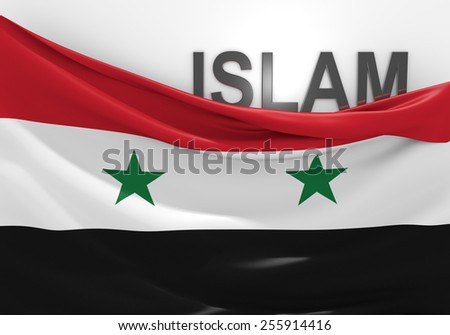Islam in Syria concept, with Syrian flag and text - stock photo