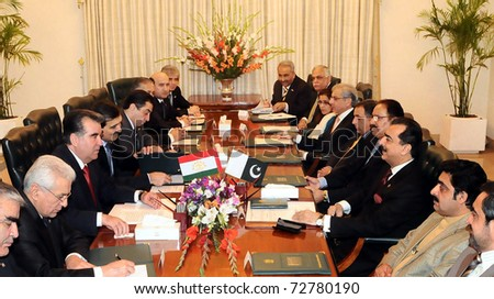 ISLAMABAD, PAKISTAN - MAR 08: A view of bilateral talks between Tajikistan President, Emomali Rahmon and Prime Minister, Syed Yousuf Raza Gilani, at PM House on March 08, 2011in Islamabad.