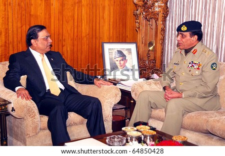 ISLAMABAD, PAKISTAN - NOV 08: President, Asif Ali Zardari, talks with Chief of the Army Staff, Gen.Ashfaq Pervez Kayani, during meeting at Aiwan-e-Sadr on November 08, 2010 in Islamabad.