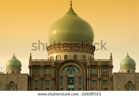 Islamic architecture landscape in sunset - stock photo