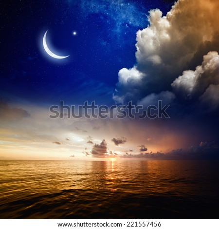 Islamic background with moon and stars. Elements of this image furnished by NASA - stock photo