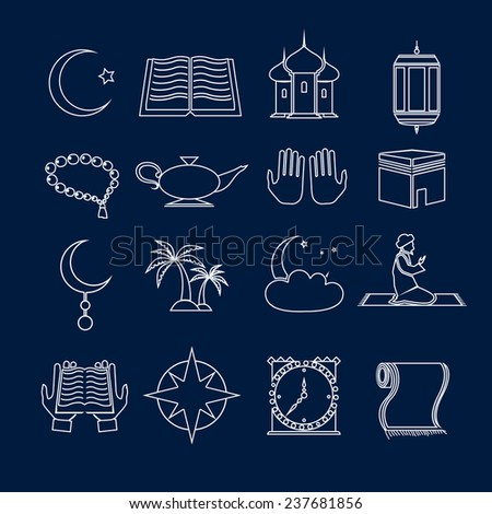 Islamic church muslim arabic holy religious traditional symbols outline icons set isolated  illustration - stock photo