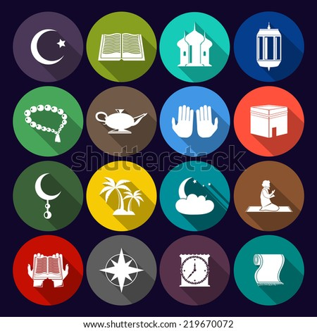 Islamic church muslim arabic spiritual traditional symbols flat icons set isolated  illustration - stock photo