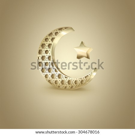 Islamic crescent and star on light background - stock photo