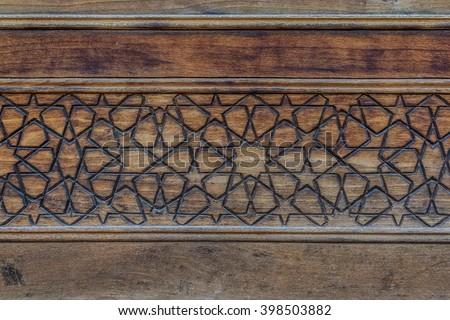 Islamic decoration on wood in Kashan, Iran - stock photo