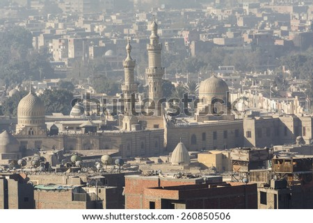 Islamic quarter of Cairo seen from the Saladin Citadel (Egypt) - stock photo