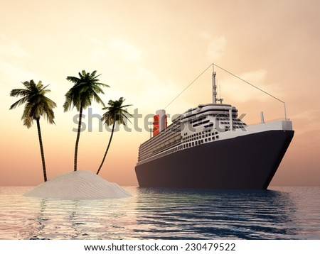 Island and Ocean Liner Computer generated 3D illustration