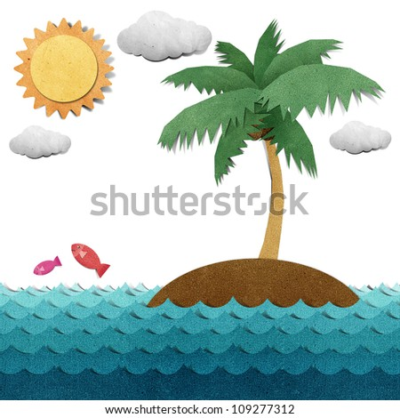 Island and sea recycled papercraft - stock photo