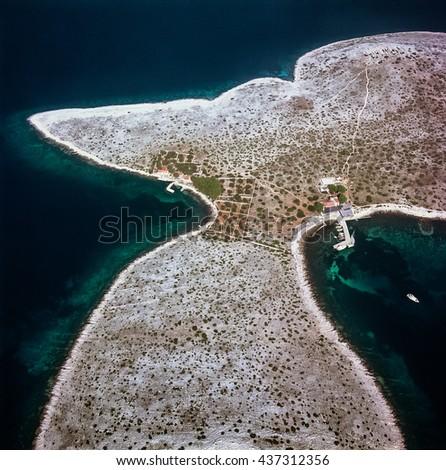 Island at Kornati archipelago at Adriatic sea in Croatia - stock photo