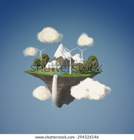 Island floating in the sky with wind turbine and trees - stock photo