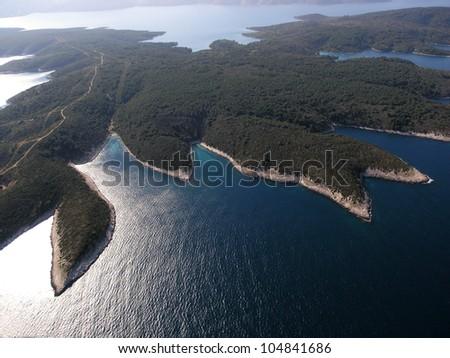 Island Hvar, Croatia, Adriatic sea, aerial view - stock photo