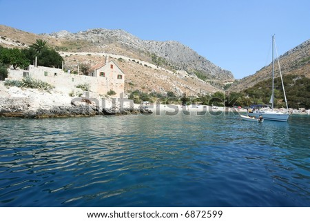 Island Hvar, lagoon - stock photo
