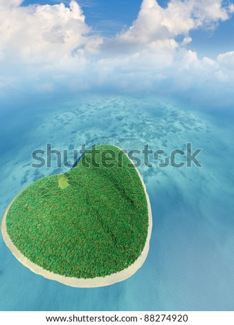Island in the form of heart. 3D rendering - stock photo