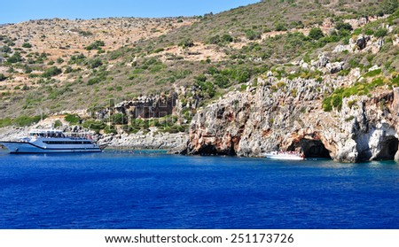 Island in the Ionian Sea, Zakynthos. Azure coast of Greece. View of coast from the sea. - stock photo