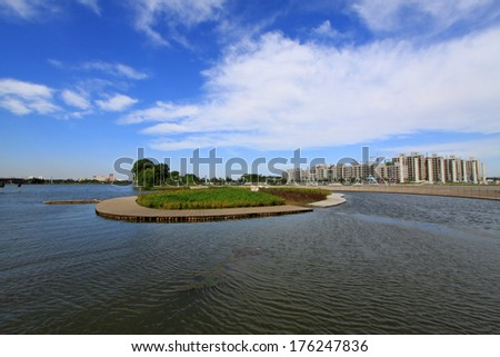island in the middle of the river, under the blue sky, Luannan, china - stock photo