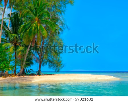 Island in the sea with tropical plants - stock photo