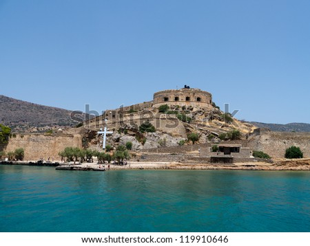 Island Kalidon with the fortress Spinalonga. Last leprous colony in Europe, Crete, Greece, main view