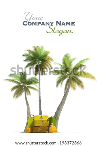 Island like composition showing tropical vegetation and beautiful luggage