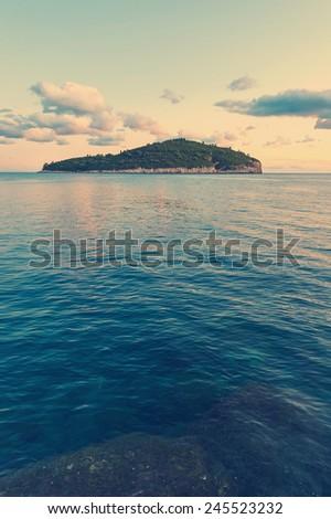 Island Lokrum near Dubrovnik, Croatia. Post processed with vintage blue tone filter. - stock photo
