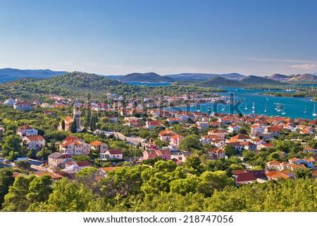Island Murter and Kornati national park archipelago view, Dalmatia, Croatia - stock photo