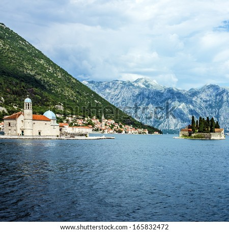 Island near Perast, Kotor bay, Montenegro, Adriatic sea