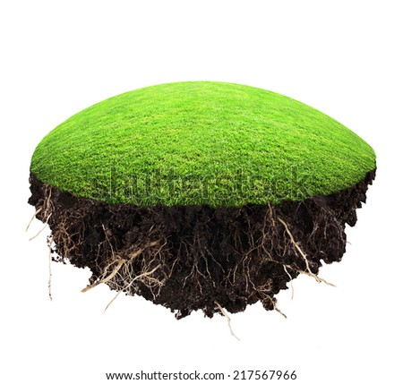 island of grass and turf on a white background - stock photo