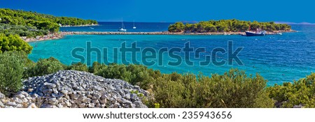 Island of Murter turquoise beach panoramic view, Dalmatia, Croatia - stock photo