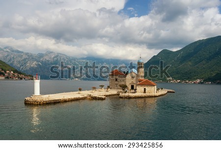 Island of Our Lady of The Rocks (Gospa od Skrpjela). Bay of Kotor, Montenegro - stock photo