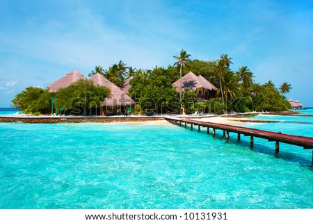 Island of Paradise. White sand beaches with coco-tree and crystal blue water. Maldives. Luxury holidays. High contrast. - stock photo