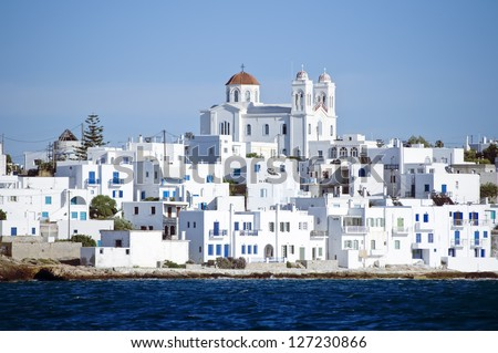 Island of Paros with the village of Naoussa - stock photo
