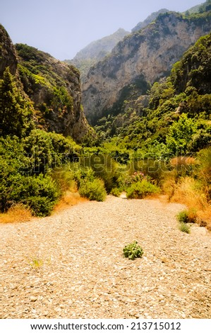 Island of Samos wild nature north-west corner, dried riverbed valley,  Greece. - stock photo