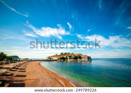 Island of Sveti Stefan. Panoramic shot - stock photo