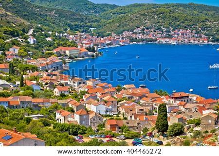 Island of Vis bay aerial view, Dalmatia, Croatia - stock photo