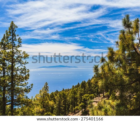 Island on the ocean beautiful landscape trees forest and mountains, Canary Islands La Palma, La Gomera, Tenerife - stock photo