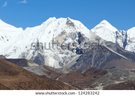 Island peak (Imja Tse) - popular climbing mountain in Nepal, Himalayas