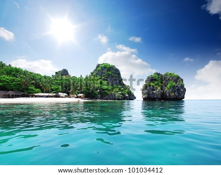 Island sea sand sun beach nature destination wallpaper and background for design at krabi in thailand - stock photo