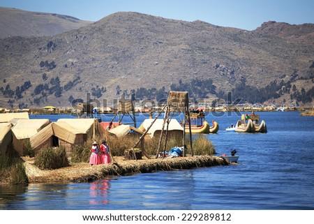 Island Uros, Lago Titicaca, Puno, Peru - stock photo