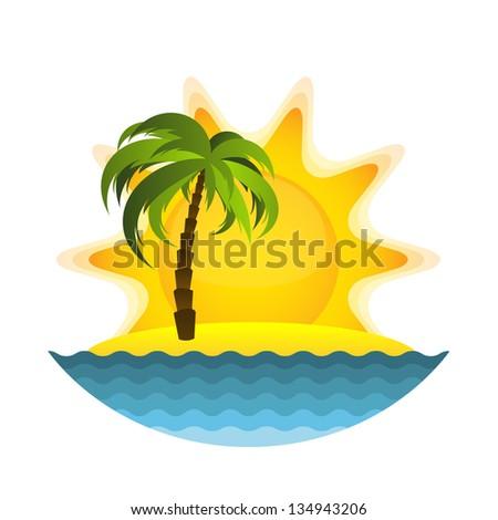 Island with palm. Raster version - stock photo
