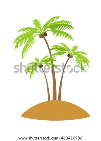 Island with palm tree silhouettes with coconut