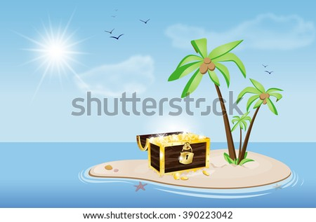 Island with palm trees and chest full of golden coins under a blue sky with sun and clouds - illustration