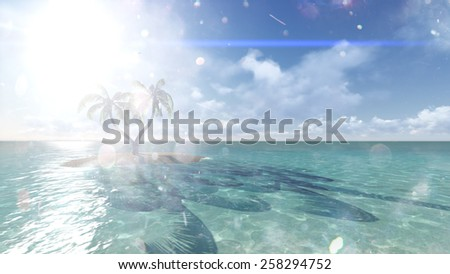 Island with palm trees on the background of the ocean. 2 Raster - stock photo