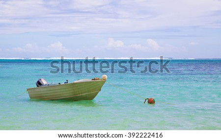 Island ,wonderful island view ,boat on water ,heaven ,nature ,blue, island bora, background,french, pacific,exotic, summer, lagoon, isle, tropical, sand, blue, palm,  travel,boat in bora bora,romantic - stock photo