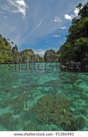 Islands and reef, Raja Ampat, Indonesia - stock photo
