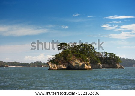 Islands in Japan's famous Matsushima Bay - stock photo